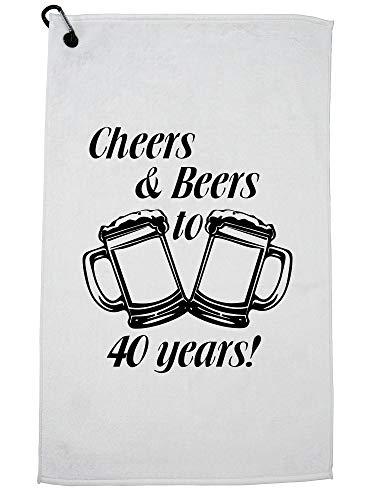 Hollywood Thread Cheers & Bier tot 40 jaar! Verjaardag Present Graphic Golf Handdoek met Karabijnhaak Clip