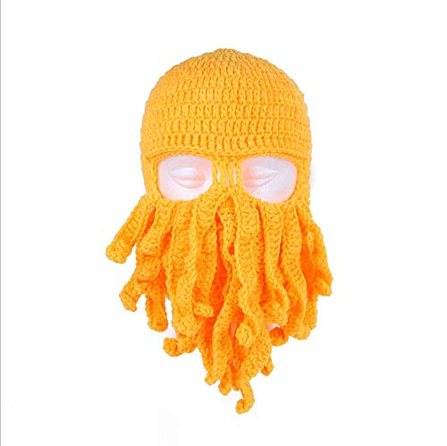 YUY Novedad Divertida Fiesta Pulpo Barba Sombrero Unisex Animal Tentáculo de Ganchillo Tejido Máscara de Viento Gorro de Esquí Sombreros de Halloween Disfraz Creativo Cosplay,Apricotyellow