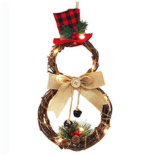 Ghirlanda natalizia in rattan con luci a LED, per porta, decorazione invernale per la casa