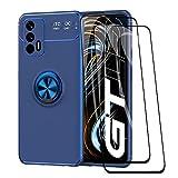 WEIOU Cover per Realme GT 5G + 2 Vetro Temperato, TPU Silicone Antiurto Custodia, Protettiva Case con 360° Girevole Anello, Sottile Morbid Shell, Blu+Blu