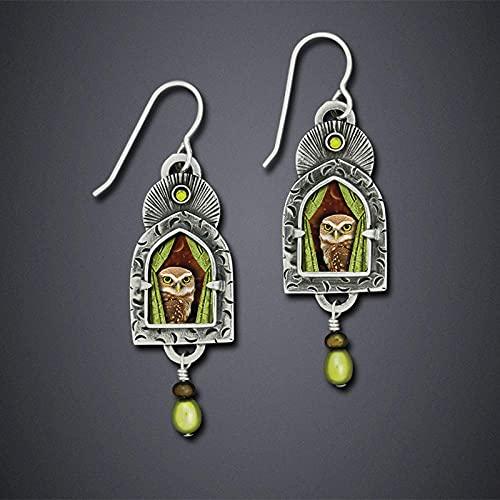 XCWXM Moda Tribal Pendientes Colgantes de Mujeres Joyas de Metal de Las Mujeres Resina étnica Pendientes Largos Pendientes Colgantes accesorios-0125