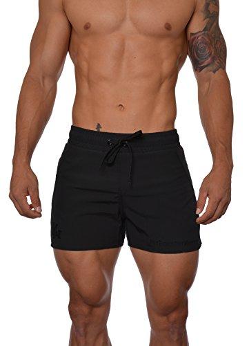 YoungLA Men's Bodybuilding Lift Shorts W/Zipper Pockets 101 Small All Black