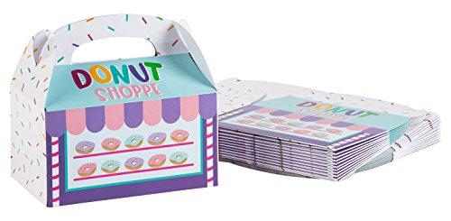 Blue Panda Party Leckerli-Boxen (24 Stück) – Geschenkboxen für Geburtstage und besondere Anlässe – Donut Shoppe-Thema – 15,2 x 8,4 x 9,1 cm
