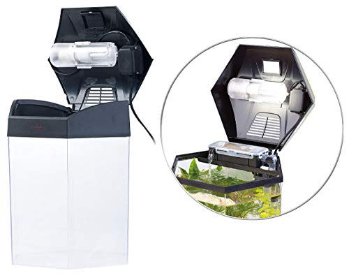 "infactory Beleuchtetes Panorama-Aquarium ""Hexagon"", Komplett-Set, 19 l - 4"