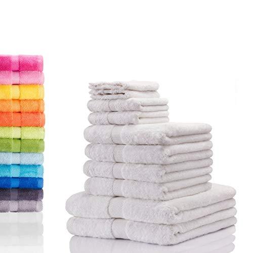 etérea Carli 10 TLG Handtuch Sparset 4X Handtücher, 2X Duschtücher, 2X Gästetücher, 2X Waschhandschuhe 100% Baumwolle und Oeko Tex Standard 100 - Farbe: Weiss