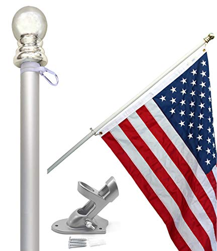 Flag Pole Kit - Includes 2.5x4 Ft American Flag Made in USA, 5 Foot Tangle Free Flag Pole, and Flagpole Bracket Holder Kit (Silver)