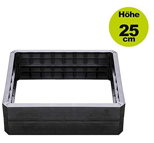 Yerd Ergo Hochbeet-System, 5 Jahre Garantie, Made in Germany (1 x Höhe 25cm 80x60cm)