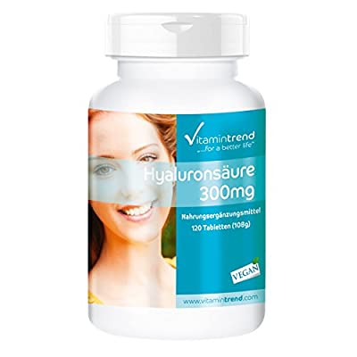 Hyaluronic Acid 300mg - ! for 4 Months ! - Vegan - high dose hyaluronic Acid - 120 Tablets