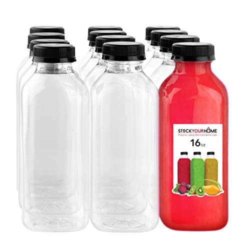 16 Oz Plastic Bottles with Caps, Reusable Bottles for Juicing, Smoothie Bottles with Lids, Plastic Bottles for Drinks, Juice Bottles 16oz 12 Count