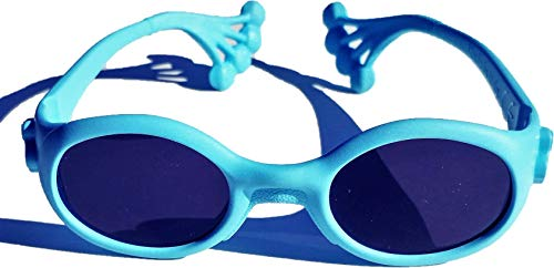 Animals Sunglasses Froggy, gafas de sol para niños de 6 meses a 1, 2, 3 años, lentes para PC UNBREAKABLE UV 400 categoría 4, montura plegable e indestructible, Made in Italy, azul