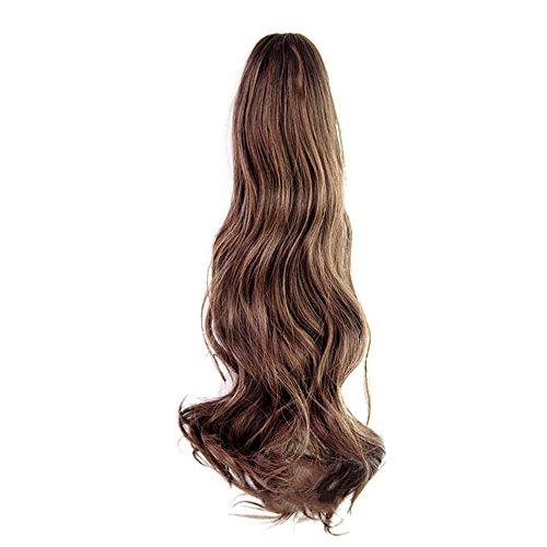 Vococal® Mesdames Clip Pince Vague Bouclés Cheveux Extensions Perruques Longue Queue de Cheval Postiches 55cm Brun
