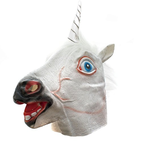 Goods & Gadgets, maschera da unicorno, in lattice, per Halloween, travestimento da animale