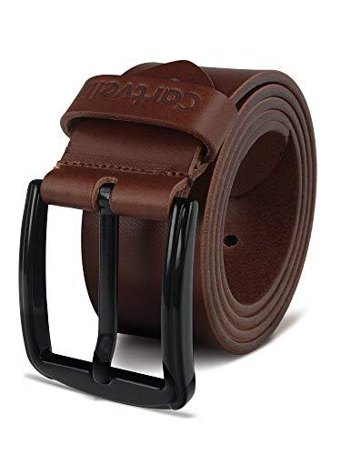 Cartvelli - Cinturón de piel auténtica para hombre, color negro, 38 mm, fabricado en Alemania, caja de regalo, hebilla metálica de color negro cognac marrón Large