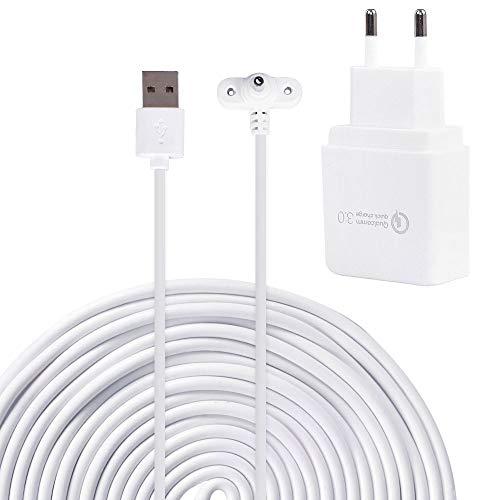Preisvergleich Produktbild EU Power Adapter Kompatibel mit Ring Spotlight Cam Akku Wetterfest mit 6 m langem Kabel zum Aufladen der Kamera,  Weiß