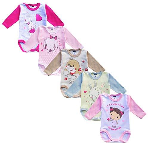 MEA BABY MEA BABY Unisex Baby Langarm Body aus 100% Baumwolle im 5er Pack, Baby Langarm Body mit Aufdruck, Baby Langarm Body für Mädchen, Baby Langarm Body für Jungen. (74, Mädchen)