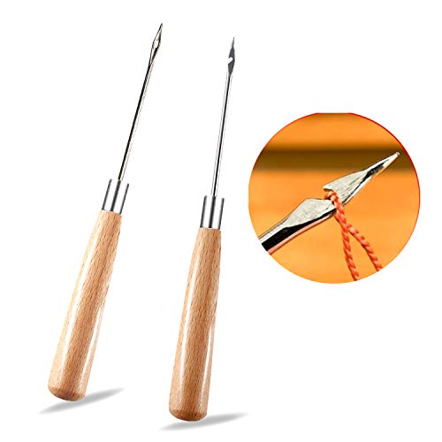 2 Pieces Leather Sewing Awl with Wood Handle Hollow Speedy Stitcher Sewing Set for DIY Leather Sewing