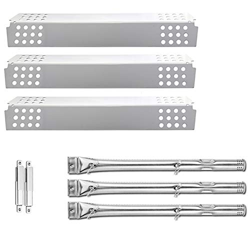 Uniflasy Grill Burner Tube Heat Plates Shield and Crossover Tube Gas Grill Repair Replacement Parts Kit for Charbroil Commericial T47-D 463241414 463241413 463241314 463241313 463241013