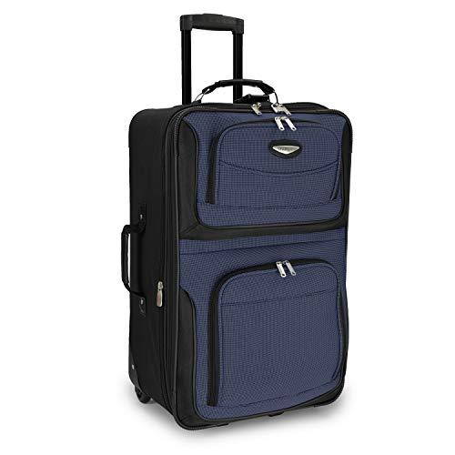 Travel Select Amsterdam Expandable Rolling Upright Luggage, Navy, Checked-Medium 25-Inch