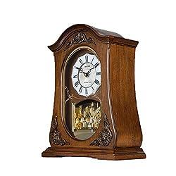 CAO-Decor Mantle Clocks, Mechanical Quartz Silent Desk Shelf Ornaments Clock, Stylish Rhythm Matle Clock with Westminster Chime, Chimes Every Hour, Silent Clock 10.2 13.6