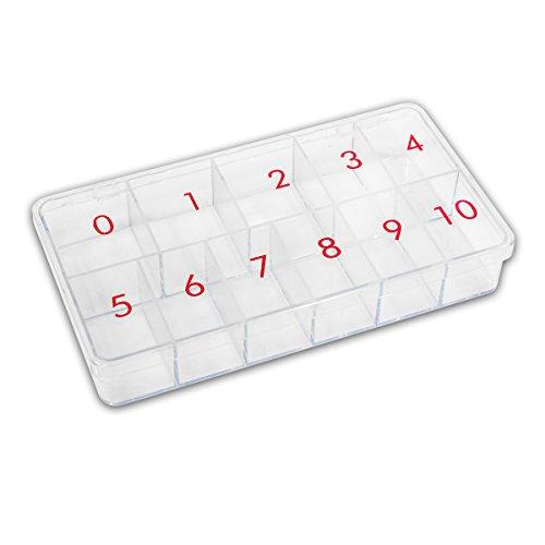 Grand tipbox pour 500 Tips et/ou nail art/Transparent 11 compartiments numérotées/Boîte de rangement Nails Factory Tip Boîte de Tip de Box
