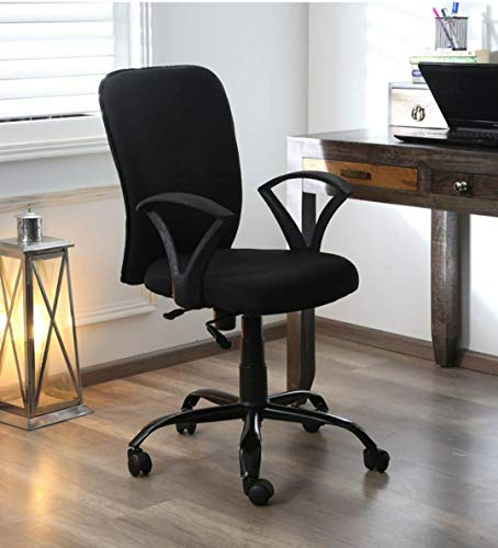 AB DESIGNS DESIGNS STARTS HERE® FOXY MID Back Office Chair/Study chair/revolving chair/Computer Chair for Home Work Executive mid Back Base Metal Powder Coated seat Height Adjustable & Comfortable Fixed armrest(black)
