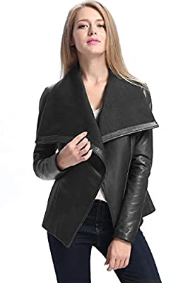 BGSD Women's Lily New Zealand Lambskin Leather Drape Jacket Black Large by