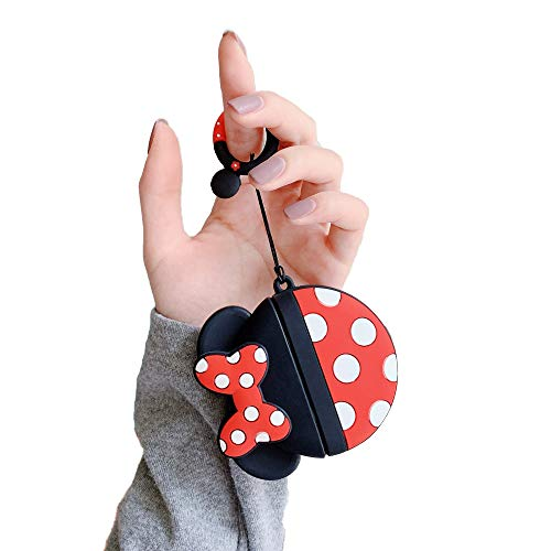 Cocomii 3D Disney AirPods Pro Hülle, Schlank Matte Sanft TPU Silikon Gummi Gel Mit Schlüsselring 3D-Disney-Figuren Karikatur Case Bumper Cover Compatible with Apple AirPods Pro (Minnie Round)
