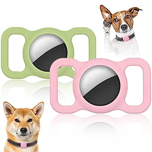 Widream 2 pcs Funda de Silicona para Airtag, Silicona Carcasa para Localizador Antipérdida, Collar para Perro Apple Airtag GPS Finder, para Airtag Funda para Collar de Perro Mochila Bolsa