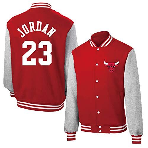 Michael Jordan # 23 Camisa de la Chaqueta de béisbol, Chicago Bulls Hombres de Manga Larga de Baloncesto más cálida Lana con Capucha (Color : Red, Size : XL)