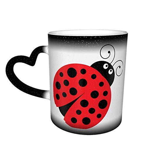 Taza que cambia de color de dibujos animados de mariquita Gran diseño de taza de café Taza de cerámica sensible al calor, 11oz-EU2