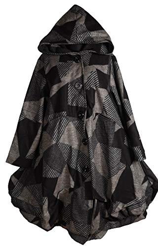 Damen Lagenlook Winter Übergang Kapuze Ballon Wolle Walk Mantel Swinger Trench Coat 42 44 46 48 M L XL XXL Multicolor Grau Jacke (48)