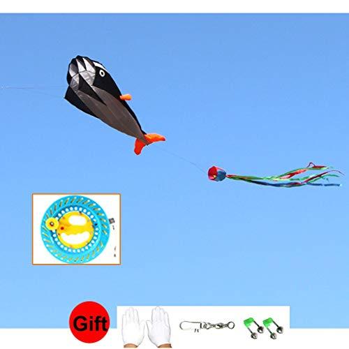 Kite-Kits voor kinderen - Soft Wal - groot voor volwassenen - eenvoudig te vliegen - geschenk handschoenen en klokken (kleur: zwart, maat: 4 lijn 400m)