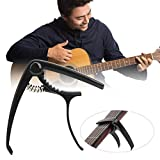 Guitar Key Tuner, Guitar Capo Clamp Convenient Practical for General Purpose for Bass for Ukulele for String Guitar(black)