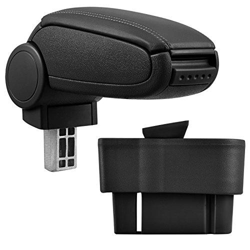 Mittelarmlehne / Mittel-Armlehne mit klappbarem staufach / Mittel-konsole Leder Fahrzeugspezifisch (Farbe: SCHWARZ)