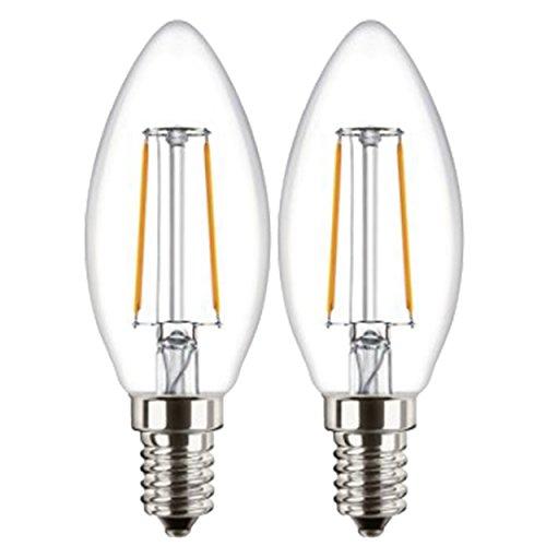 Attralux - 2 candele a LED Classic B35, E14, a filamento, 2,1 W, sostituisce 25 W, 2700 K, luce bianca calda, 250 lumen, classe di efficienza energetica A++, 15.000 h, non dimmerabili