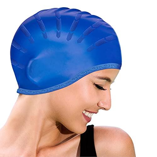Idefair Cuffie da nuoto,Cuffie da nuoto in silicone Cuffie da nuoto antiscivolo Cuffie da bagno impermeabili con tasche ergonomiche per le orecchie per unisex adulto per capelli lunghi e capelli corti