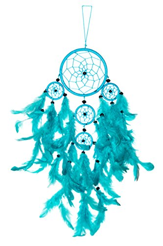 50cm x 11cm Dreamcatcher Traumfänger Türkis 5 Ringe Dream Catcher Indianer