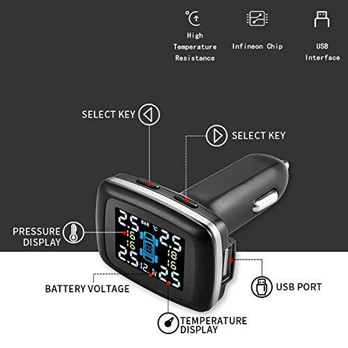 Aramox Tire Pressure Monitor System,Car Intelligent TPMS Cigarette Lighter Tire Pressure Monitoring System with 4 Internal Sensors