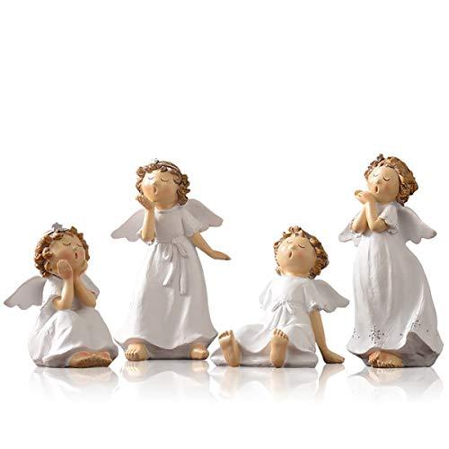TongN Esculturas Conjunto de 4 Querubines Blanca Estatua de la Resina, 5,5 Pulgadas de Interior Ángeles Casa Esculturas de Escritorio Decoración