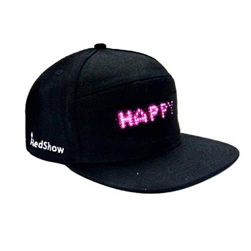 HCFKJ Mode Cap LED Cool Hat mit Bildschirm Licht wasserdichtes Smartphone gesteuert (Schwarz, One Size)