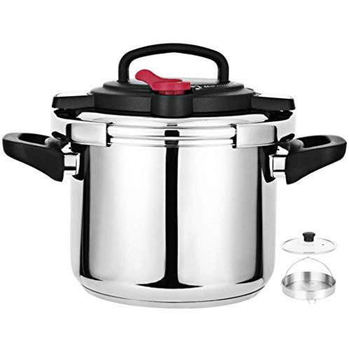 Cocina de presión, olla de sopa de cocción rápida de acero inoxidable, olla de presión a prueba de explosiones, con cubierta de olla de sopa y vaporizador, adecuado para estufas de cocina para hogares