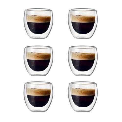 GAX Set di 2/6 Tazzine da caffè in Vetro Isolante a Doppia Parete da 80 ml per Bere Tazza di caffè, Latte, tazzina da Espresso o Tazza, Set di 6 Pezzi