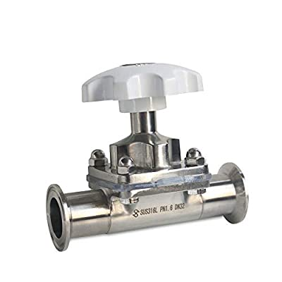 """1.5"""" Sanitary Diaphragm Valve Stainless Steel Tri-Clamp Type 64mm Silicone Seal PN1.0 (1.5 inch) from Dyrabrest"""
