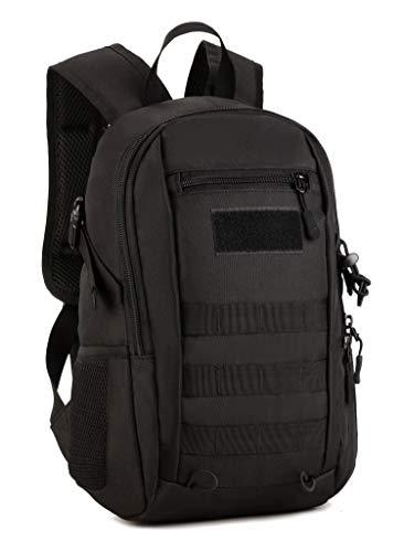 Yakmoo Mochila de Asalto Estilo Militar Táctico Molle Sistema Bolsa de Estudiante Mini Mochila Impermeable 12L al Aire Libre Negro