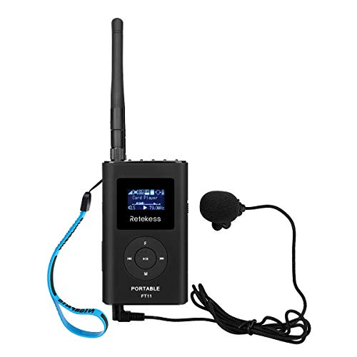 Retekess FT11 0.3W Portable FM Transmitter Low Power MP3 Broadcast Radio Station Power Support TF Card 3.5mm AUX Input for Tour Guide System Church Translation with 8GB TF Card Input