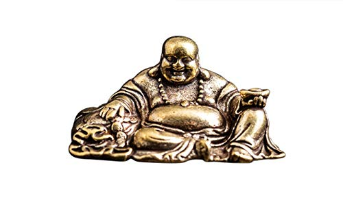 DMtse Brass Mini Sitting Laughing Buddha Statue Ornaments Brings Peace and Prosperity Decoration