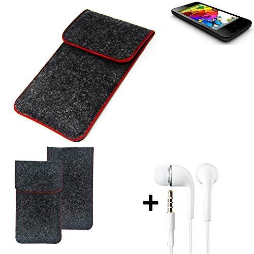 K-S-Trade® Handy Schutz Hülle Für Mobistel Cynus E4 Schutzhülle Handyhülle Filztasche Pouch Tasche Case Sleeve Filzhülle Dunkelgrau Roter Rand + Kopfhörer