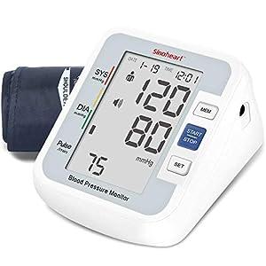 sinoheart Tensiómetro de Brazo Digital,Tensiómetro de Brazo de brazo digital con detección del pulso arrítmico, validado clínicamente, A801 con función de voz,pantalla LCD grande,brazalete(24cm-34cm)