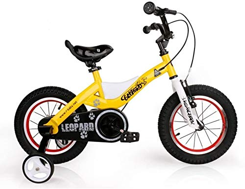 TQJ Cochecito de Bebe Ligero Bicicleta para niños convenientes, 14 Pulgadas Hombres y Mujeres Bizcocho Bizcocho 3-6-8 Años Niño Niño Bebé Carro Cómodo (Color : Yellow)