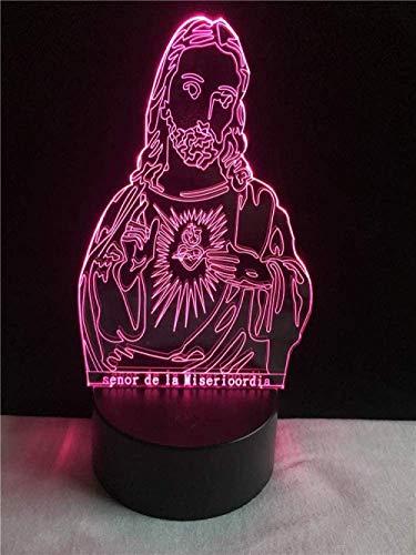 3D Kinder Nachtlicht Jesus Christus Jehova Folie 7 Farbwechsel Nachttisch LED Nachtlicht Geburtstag Weihnachten Halloween Geschenk für Baby Boy